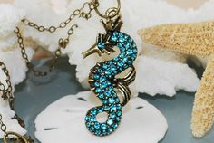 Blue Seahorse Necklace Antique Brass Nautical by ornatetreasures, $23.95