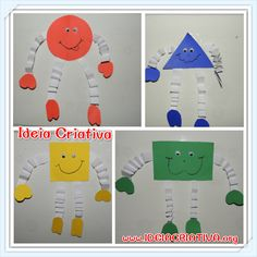 Bonequinhos de Formas Geométricas para colar na parede Preschool Learning, Kindergarten Activities, Learning Activities, Preschool Activities, Art For Kids, Crafts For Kids, Teaching Shapes, Preschool Colors, Classroom Board