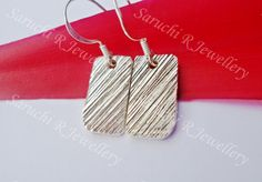 Fine silver rectangular curved edge earrings by SaruchiRJewellery, $45.00