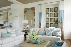beach house living room with a sand and sea palette | Georgia Carlee