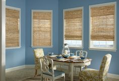 For an all-natural look, try Bali Blinds woven wood shades. Sunroom Window Treatments, Window Coverings, Woven Wood Shades, Bamboo Shades, Sunroom Decorating, Decorating Ideas, Decor Ideas, Bali Blinds, Shades Blinds