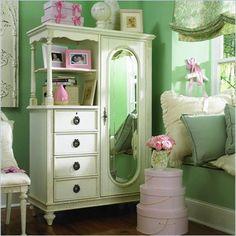 Lea Emma's Treasures Mirrored Door Chest Armoire in White