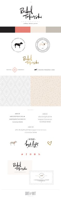 Branding for Rachel Tokarski Photography: I really like this fun and modern look for a wedding photographer. The various patterns and icons lend a lot of personality.