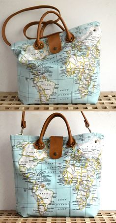 Mint World Map Bag Leather Canvas Tote Tan by BarbaLeatherStudio