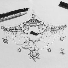Sun Tattoos, Body Art Tattoos, Small Tattoos, Tatoos, Pointillism Tattoo, Planet Tattoos, Underboob Tattoo, Universe Tattoo, Sacred Geometry Tattoo