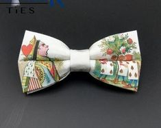 Alice in Wonderland Themed Bowtie with Faux Pocket Square Small Cards, Classic Image, Christmas Paper, Formal Wedding, Pocket Square, Alice In Wonderland, Tea Party, Hand Sewing, Cufflinks