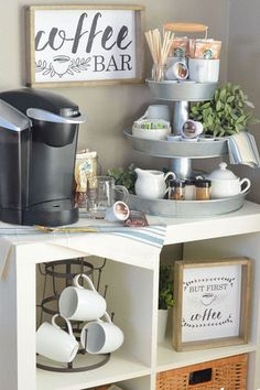 Coffee Bar Home, Home Coffee Stations, Coffee Corner, Beverage Stations, New Kitchen, Kitchen Decor, Kitchen Ideas, Kitchen Layout, Kitchen Designs