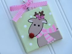 Hand Painted Canvas Rudolph the Red-Nosed Reindeer Ornament @ threedoodlebugs.etsy.com