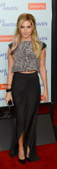 Ashley Tisdale: Shirt and skirt – The Hellers    Shoes – Casadei    Purse – Devi Kroell