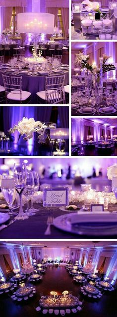 Wedding reception photography - Chicago photographer Rachel Lindemann shares this sleek and sophisticated wedding held at The Standard Club with decor by Ronsley Special Events Wedding Reception Decorations, Wedding Themes, Wedding Centerpieces, Wedding Table, Wedding Colors, Reception Ideas, Purple Wedding Receptions, Aisle Decorations, Uplighting Wedding