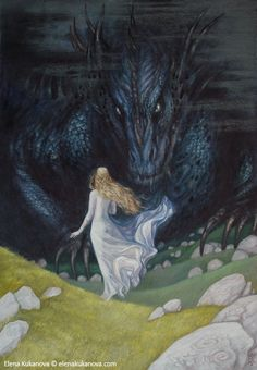 Illustration for the Children of Hurin by Tolkien Nienor and Glaurung Fantasy World, Middle Earth Art, Illustration, Tolkien Art, Fantasy Art, Mythical Creatures, Art, Dragon, Elves