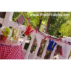 BBQ Garland from DIY Dish. patriotic-memorial day-4th of july-red-white-blue-DIY-Craft