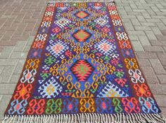 Items similar to Vintage Turkish Antalya Blue Rug,Floor Kilim Area Rugs,Kelim,Carpet on Etsy Turkish Kilim Rugs, Antalya, Floor Rugs, Bohemian Rug, Area Rugs, Carpet, Flooring, Antiques, Handmade Gifts