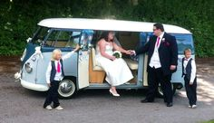 Chauffeur driven classic VW Split screen Camper van Wedding car in the Staffordshire ,Cheshire and Derbyshire areas. www.onestopweddingshopstaffordshire.co.uk Blue Pumpkin, Wedding Hire, Derbyshire, Golf Carts, Campervan, Car Ins, Vw, Classic, Derby