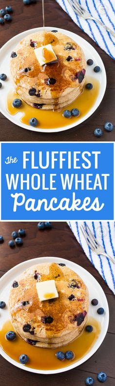 Fluffiest Homemade Whole Wheat Buttermilk Pancakes - EVERYONE that's made it says they are the BEST! #pancakes #wholewheatpancakes #buttermilkpancakes | Littlespicejar.com
