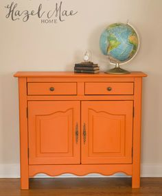 Annie Sloan Barcelona Orange Cabinet {by Hazel Mae Home}