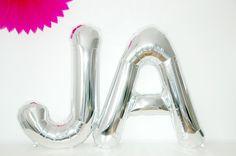 JA Hochzeit Luftballons silber Schriftzug Deko von OOH HAPPY DAY auf DaWanda.com