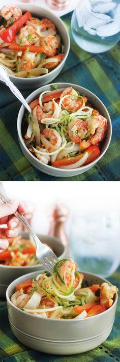 Cajun Garlic Shrimp Noodle Bowls #lowcarb #glutenfree #paleo