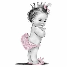 Vintage Pink Princess Baby Girl Shower Photo Cutouts
