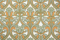 Vintage Wallpaper by the Yard 70s Retro Wallpaper - 1970s Orange Gray and White Mod Damask
