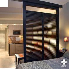 Monoambiente de estilo moderno. Todo disponible con Orbe estudio de arquitectura y diseño. facebook.com/ORBEARQ