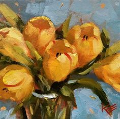 """Daily Paintworks - """"Yellow Tulips"""" - Original Fine Art for Sale - © Krista Eaton"""
