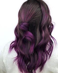 Deep Purple Hair, Dark Hair, Blonde Hair, Winter Hairstyles, Cool Hairstyles, Pulp Riot Hair Color, Mo Hair, Hair Dye Colors, Hair Trends