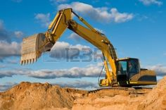 8202919 excavator loader machine during earthmoving works outdoors at construction site