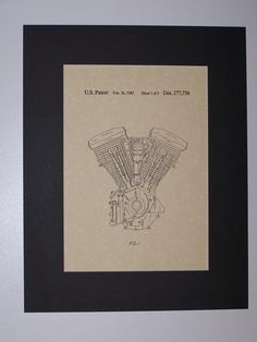 Harley Engine 1985 Patent Drawing Motorcycle Harley Davidson