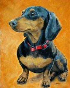Items similar to Dachshund Dog Art, Sitting, on Orange, Dog Art print by Dottie Dracos on Etsy Basset Dachshund, Dachshund Art, Daschund, Animals And Pets, Cute Animals, Environmental Art, Animal Paintings, Dog Art, Illustrations