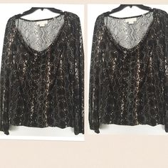 MK Sneak print drape neck top Like new condition sneak print lil elastic top. True to size L . Second picture model the same model in leopard print . Cover picture is the real item . Michael Kors Tops