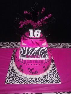 The best sweet sixteen cake ever!! #ilovedit #sweetsixteen #thankyou #nannie #pink #black