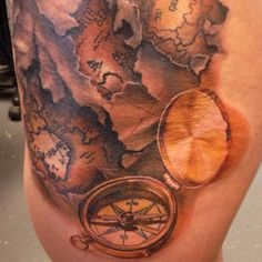 under the skin map and compass tattoo. Love the detail on the compass!
