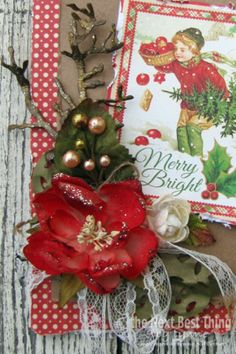 """It's all about the """"handmade"""" cards from Lynne Forsythe!    This holiday learn how to create the most stunning DIY Christmas cards with a little paper from Graphic 45 and a few Sugared Botanica flowers & berries from Petaloo!  Come to the Blog and learn the """"tricks"""" from Lynne on creating amazing holiday cards!"""