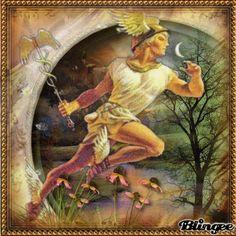 Hermes, God of commerce and travel. World Mythology, Greek Gods And Goddesses, Greek And Roman Mythology, The Ancient One, Ancient Rome, Ancient Greek, Hermes Tattoo, Greek Art, Beautiful Artwork