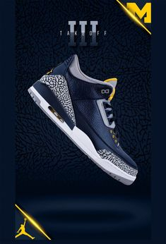 The Air Jordan 3 Michigan PE is one of many Air Jordan player exclusives  given from Jordan Brand to the Michigan Wolverines football team with the M  block