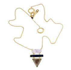 Collar original, collar dorado, collar para el día a día, colgante original, collar con piedras semipreciosas, cadena dorada, collar de oro. Cuarzo fumé, amatista, lapislazuli.  Joyas Coolook