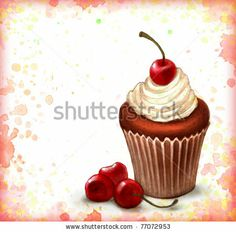Cherry chocolate cupcake on watercolor background - stock photo