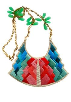 Tribal-Art deco embroidered statement necklace in blues and pinks by An Astrid Endeavor
