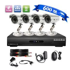 LightInTheBox Ultra Low Price 4CH CCTV DVR Kit (4 Outdoor Waterproof 600TVL Color Cameras) *** Click image to review more details.