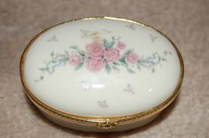 Lenox Trinket Box Oval Hinged Petite Rose