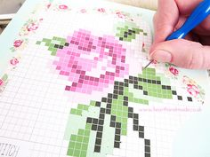 Cross Stitch Canvas making holes Handmade Rose Cross Stitch Canvas.....painting a picture with cross stitching on canvas.