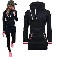 Cowl Neck Racer Cuff Long Sleeve Pullover Top, Black, Gray, Red Or Blue, S, M, L, XL