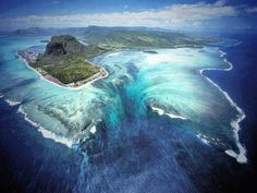 Aerial illusion of an underwater waterfall, Mauritius Island