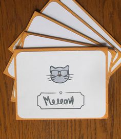Handmade Cat Note Card Set // A purrrfect way to send a little happy mail. Can be customized to add a name or personalized message! Hot Wheels and Glue Guns