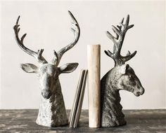 "14-1/4""H Resin Bookends Stag w Distressed Grey Finish Set of 2"