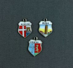 Lot VTG 800 Silver Enamel Travel Shield Charms Souvenir Italy Pisa Rimini Assisi