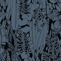 Sarah Watson - Birds Eye View - Foliage in Black $12.50/YD