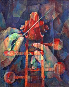 Susanne Clark - Well Conducted - Painting of Cello Head and Conductor