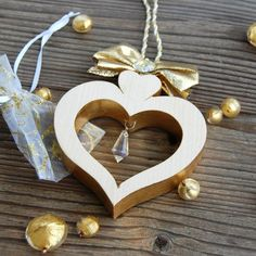 Wooden Alpine Heart with Crystal - Choralis - Wood Art Golden Heart, Heart Of Gold, Valentine Day Gifts, Valentines, Best Valentine's Day Gifts, Heart Wall, Handmade Wooden, Luxury Gifts, Clear Crystal